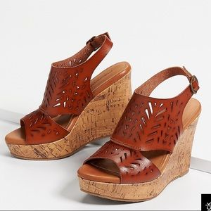 Open Toe Cork Wedges